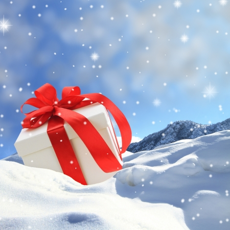 Gift box on the snow