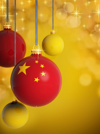 Christmas balls with Chinese  flag in front of lights background photo