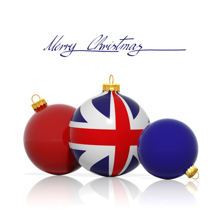 Christmas balls with United Kingdom flag isolated on white photo