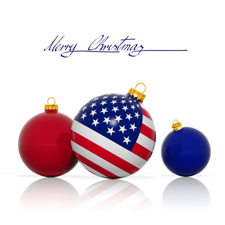 Christmas balls with USA flag isolated on white photo