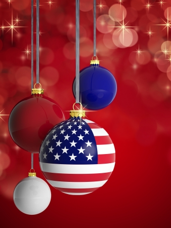 Christmas balls with USA flag in front of lights background photo