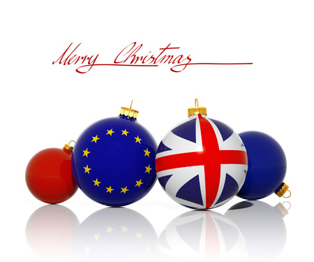 Christmas balls with United Kingdom Flag and European Union flag isolated on white photo