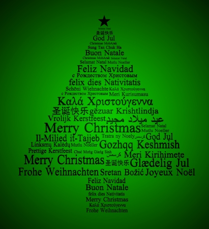 Merry Christmas In Different Languages Forming A Christmas Tree ...