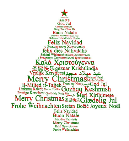 different shapes: Merry Christmas in different languages forming a Christmas tree