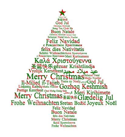 Merry Christmas in verschillende talen vormen een kerst boom Stockfoto