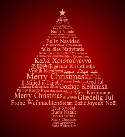メリー クリスマス、クリスマス ツリーを形成する別の言語で 写真素材