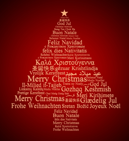Merry Christmas in different languages forming a Christmas tree  photo
