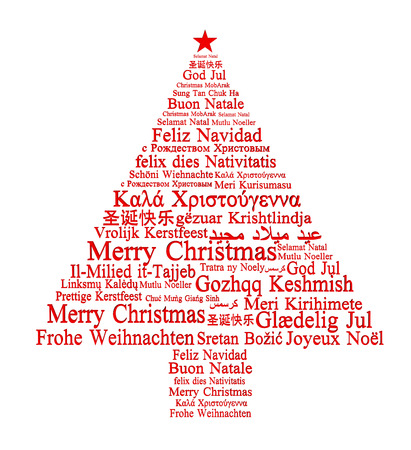 Merry Christmas in different languages forming a Christmas tree
