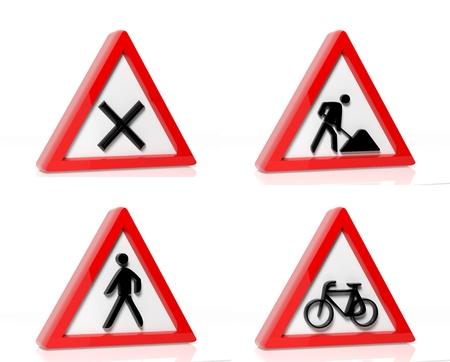 Collection of traffic signs isolated on white background photo