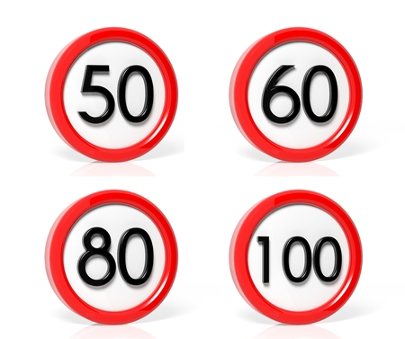50 to 60: Collection of speed limit signs isolated on white background