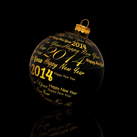 Happy new year 2014 written on Christmas ball on black background  photo