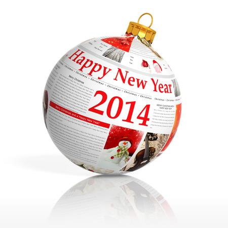 Newspaper happy new year 2014 ball on white background Stock Photo - 22291950
