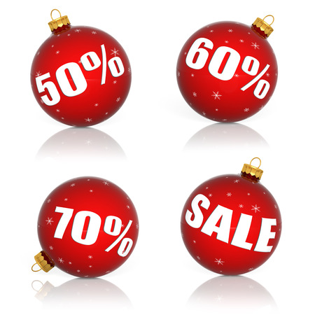 60 70: Red Christmas balls with numbers and percent symbols for Christmas sale