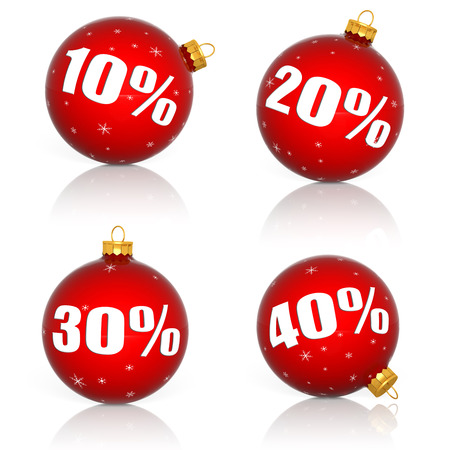 Red Christmas balls with numbers and percent symbols for Christmas sale photo