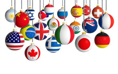 banderas del mundo: Bolas de Navidad con diferentes banderas colgando en el fondo blanco