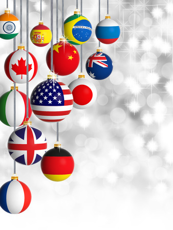 new world: Christmas balls with different flags