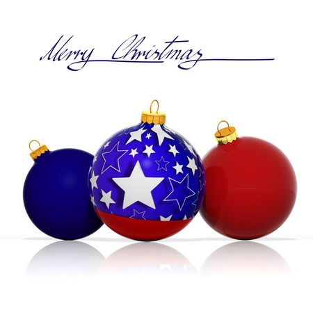 Merry Christmas from USA. Three Christmas balls with colors and elements from the flag photo