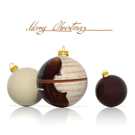 business christmas:  Three Christmas balls with musical elements  Stock Photo