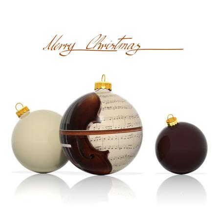 simbolos musicales: Tres bolas de Navidad con elementos musicales