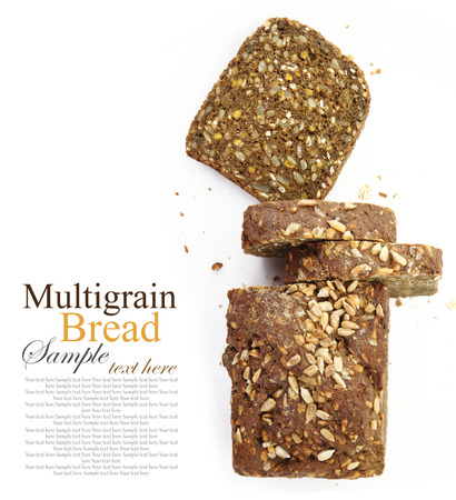 black bread: Loaf of fresh sliced multigrain bread, isolated on white Stock Photo