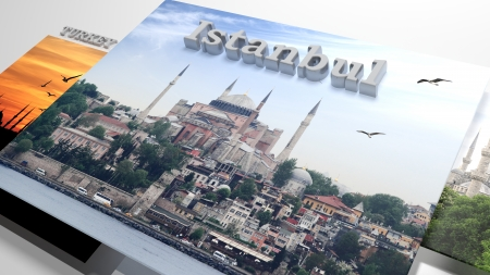 slideshow: Turkey sightseeing in slideshow like set photos and 3d text Stock Photo