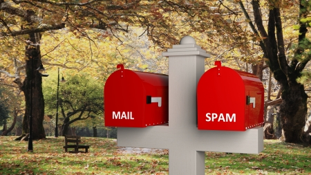3D model of classic mailbox with internet elements, with park as background Stock Photo