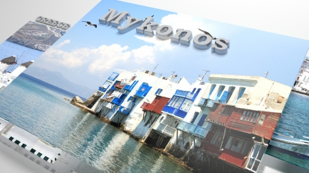 myconos: Mykonos places to visit in slideshow like set photos and 3d text