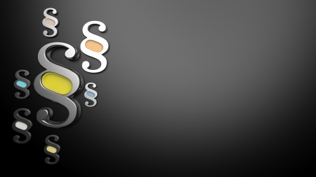 3D render of silver paragraph symbols on dark background Standard-Bild