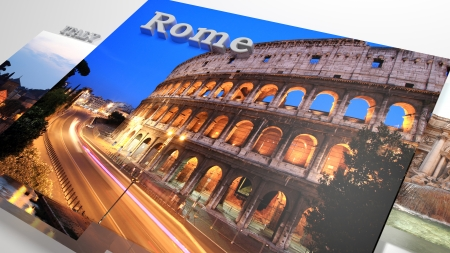slideshow: Italy sightseeing in slideshow like set photos and 3d text