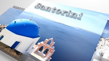 slideshow: Santorini places to visit in slideshow like set photos and 3d text Stock Photo