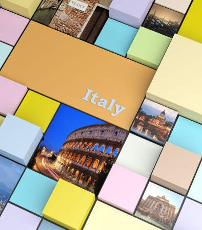 agence de voyage: Fond carré avec des couleurs pastel et des photos de vacances, le concept de promotion
