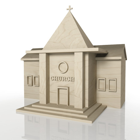 3d temple: 3D render of church building with reflection,isolated on white