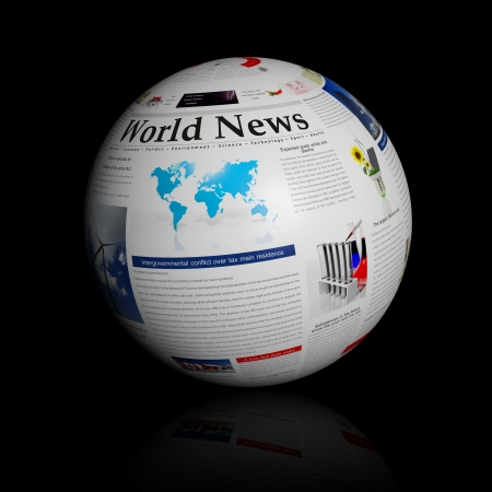 represented: World news represented by a newspaper globe