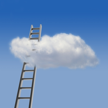 expectations: Blue sky with cloud and ladder, way to success concept