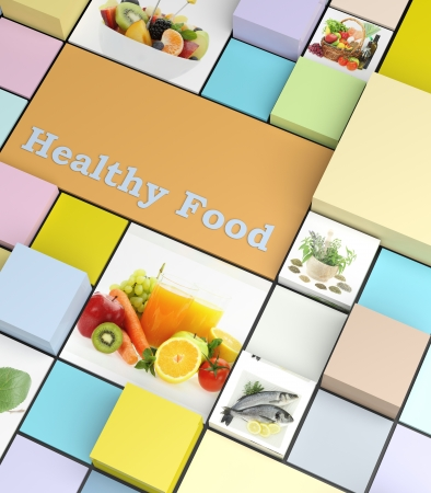 block note: Healthy foods promotional business template