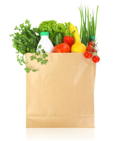 Fresh healthy groceries in a paper bag Stock Photo - 22651433