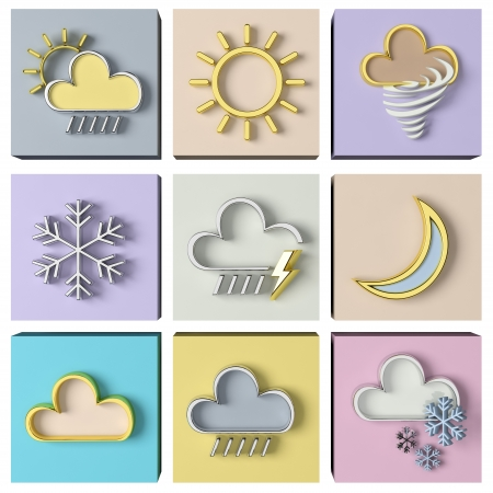 weather protection: Weather forecast 3d set Stock Photo
