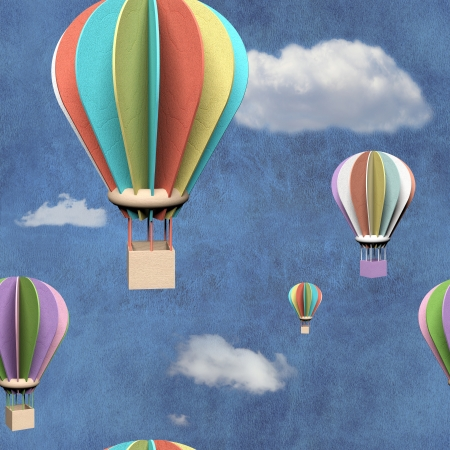 Seamless pattern with 3d air balloons in blue sky Stock Photo - 23122763