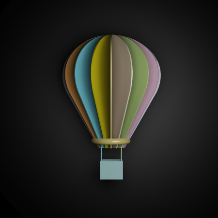 3d pastel glossy air balloon on black background Stock Photo - 23122764