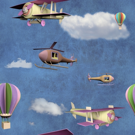 Seamless pattern with flying transportation toys photo