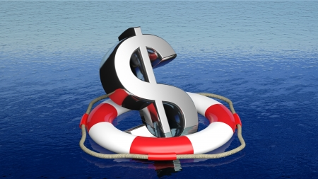 business survival: Life belt with dollar sign in open sea