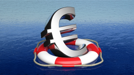 Life belt with euro sign in open sea Stock Photo
