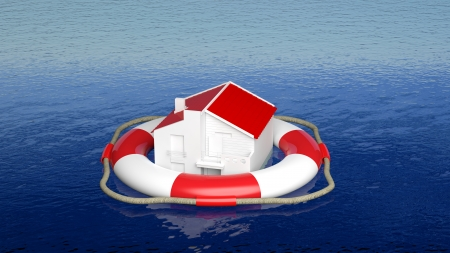House on life belt in open sea photo
