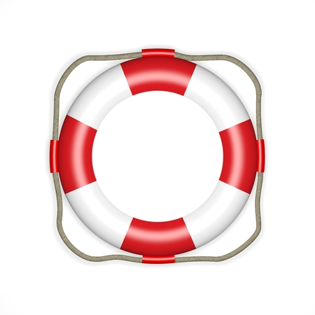 safe water: 3d render a life belt icon isolated on white