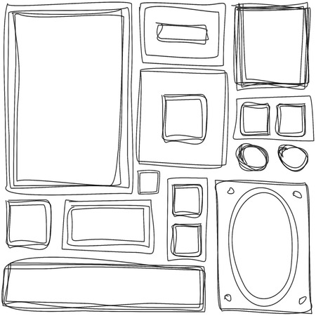 Seamless pattern. Repeating texture with hand drawn frames photo