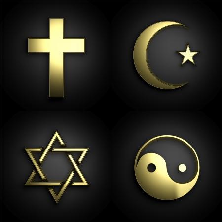 simbolos religiosos: Los s�mbolos religiosos, 3D conjunto de oro sobre fondo negro
