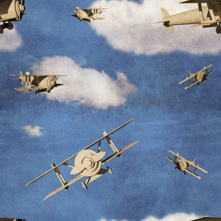 Seamless pattern with 3d airplanes in blue sky with clouds photo
