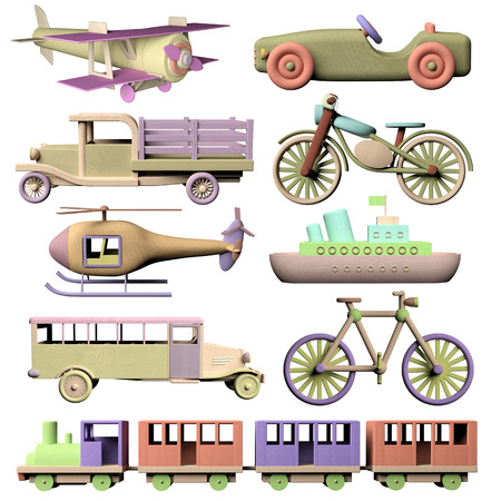 Fun set of 3d wooden transportation toys photo