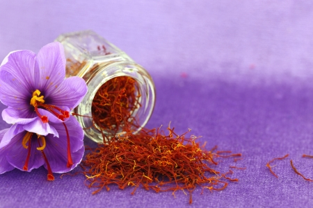 saffron: Dried saffron spice and Saffron flower