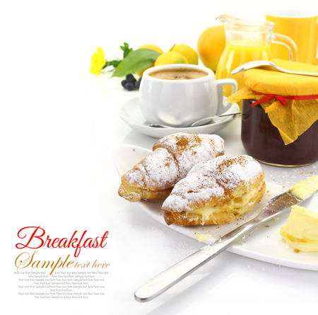 breakfast hotel: Breakfast with croissants and beverages